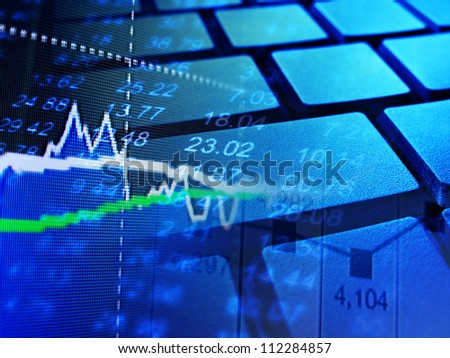 Market data and computer keyboard. Finance concept.