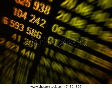 Market data on gold tone on a monitor