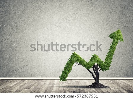 Market growth and success as growing green tree in shape of arrow #572387551
