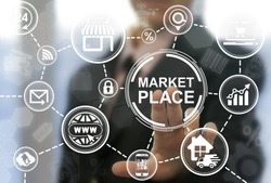 Market place store navigation shopping web computer online business concept. Marketplace shop location trolley icon buy internet market supermarket marketing technology