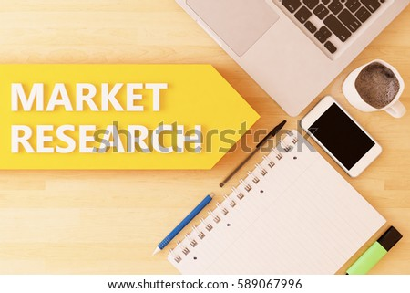 Market Research - linear text arrow concept with notebook, smartphone, pens and coffee mug on desktop - 3d render illustration.