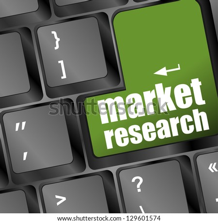 market research word button on keyboard, raster