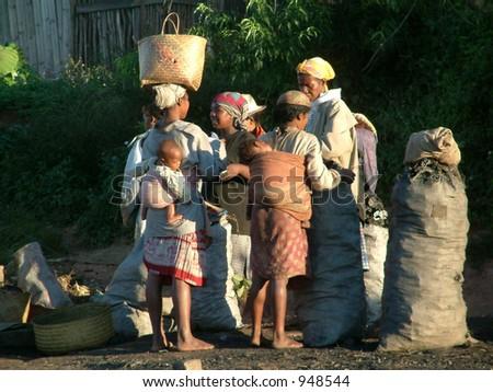 Market scene, madagascar,Africa.