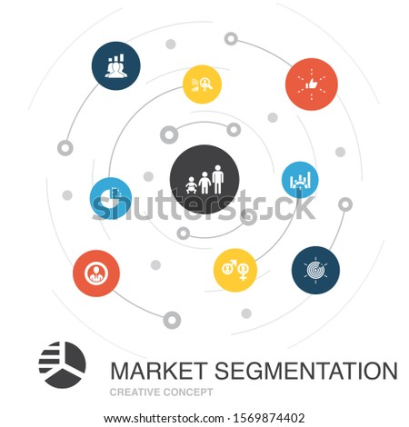 market segmentation colored circle concept with simple icons. Contains such elements as demography, segment, Benchmarking, Age group