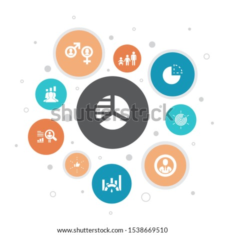 market segmentation Infographic 10 steps bubble design.demography, segment, Benchmarking, Age group simple icons