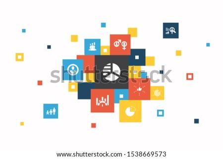 market segmentation Infographic 10 steps pixel design. demography, segment, Benchmarking, Age group simple icons