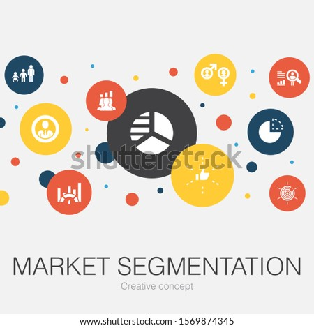 market segmentation trendy circle template with simple icons. Contains such elements as demography, segment, Benchmarking, Age group