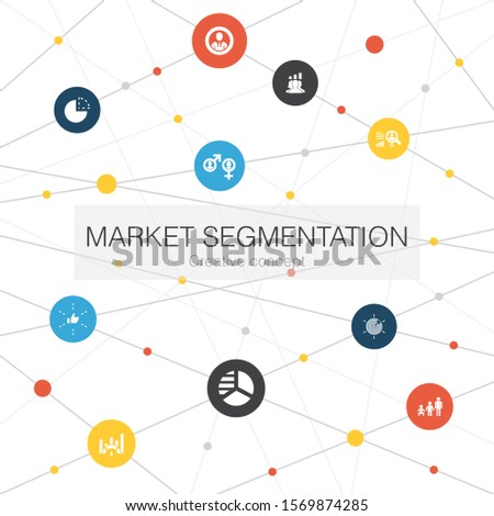 market segmentation trendy web template with simple icons. Contains such elements as demography, segment, Benchmarking, Age group