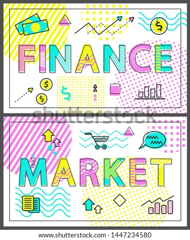 Market selling production of business companies, finance dealing with corporations money funds, posters collection and icons set raster illustration
