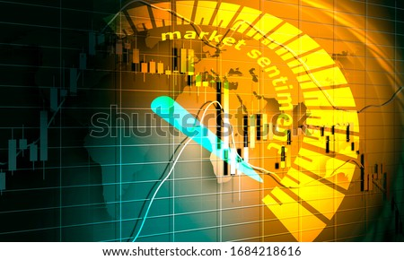 Market sentiment level scale with arrow. The measuring device icon. Sign tachometer, speedometer, indicators. Infographic gauge element. 3D rendering Foto d'archivio ©