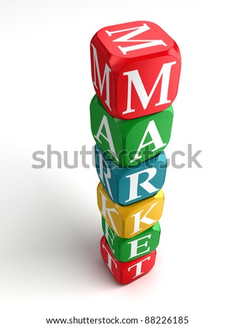 market sign 3d colorful box tower on white background