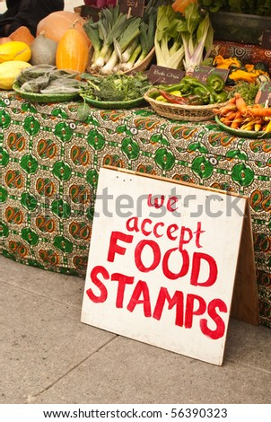 Market Sign for Food Stamps