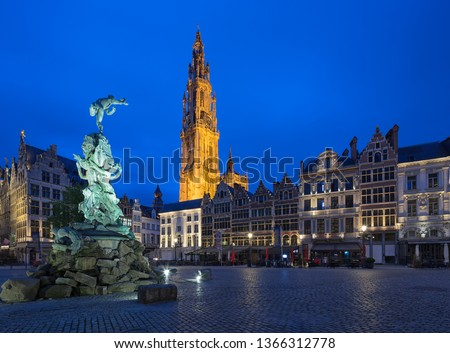 Market square and Cathedral of Our Lady and Famous fountain with Statue of Brabo in Antwerpen, Belgium. in Antwerpen, Belgium. #1366312778
