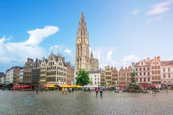 Market square and Cathedral of Our Lady, Antwerp, Belgium