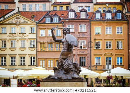 Market square with the famous mermaid in Warsaw, Poland Zdjęcia stock ©