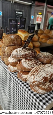 Market stall selling artisan bread