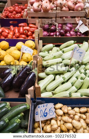 Market stall with lots of various colorful fruits and vegetables, Catania, Sicily, Italy