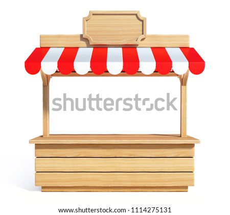 Market stall with striped red and white awning, wooden counter, kiosk, stand, 3d rendering Photo stock ©