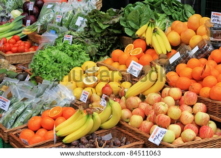 Market stall with varaity of organically grown fruits
