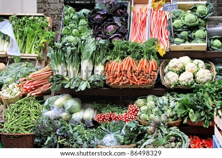 Market stall with varaity of organically grown vegetables