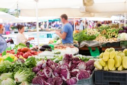 Market stall with variety of organic vegetable.