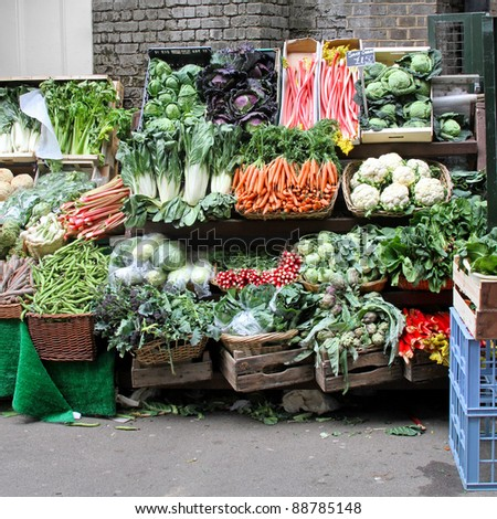Market stall with variety of organically grown vegetables