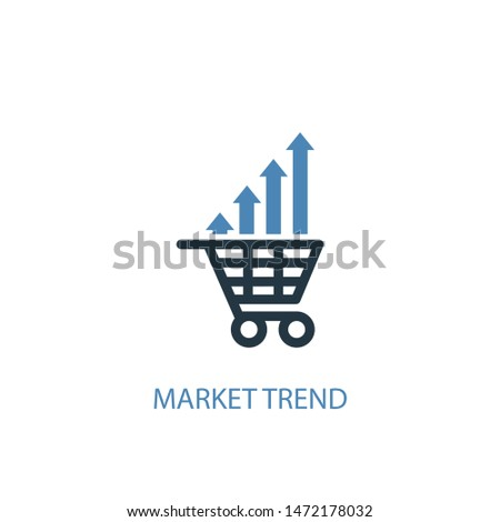 market trend concept 2 colored icon. Simple blue element illustration. market trend concept symbol design. Can be used for web and mobile UI/UX