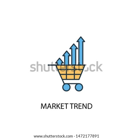 market trend concept 2 colored line icon. Simple yellow and blue element illustration. market trend concept outline symbol design