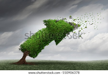 Market trends and forecasting business direction concept as an arrow tree being bent by a violent storm as a financial crisis metaphor with 3D illustration elements. Foto d'archivio ©