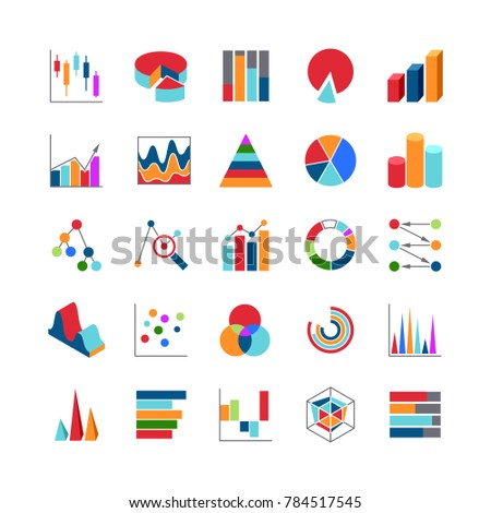 Market trends business data charts icons. Stats money graphs and bar simple symbols. Business diagram and chart symbol illustration