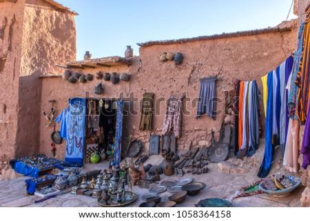 market with a local handicraft - Ajt Bin Haddu Morocco Stock fotó ©