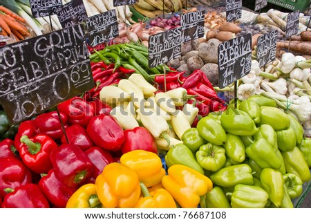 Market with vegetable (at Naschmarkt in Vienna) - stock photo