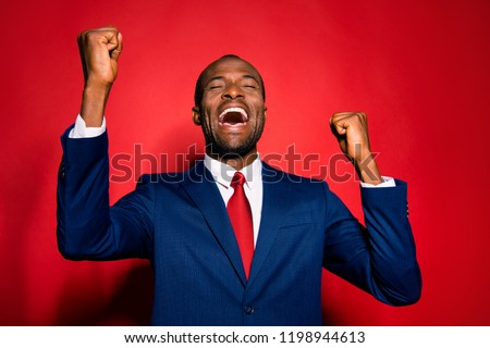 Marketer ceo executive lawyer economist financier chic classy confident man in style tux formalwear raised fists throw back one's head make open mouth beaming smile isolated on red vivid background