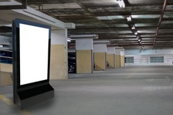 Marketing and advertisement concept digital signage billboard or advertising light box for your text message or media content parking garage lot building in the mall