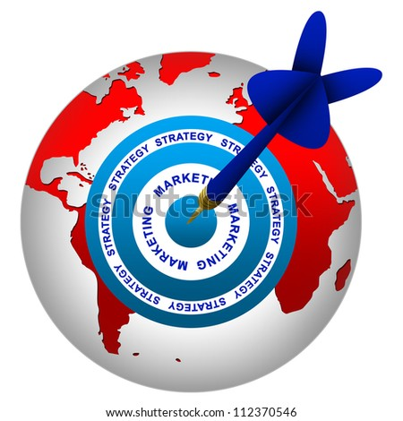Marketing and Business Strategy Concept Present By Dart Hitting A Marketing Target on Globe Isolated On White Background