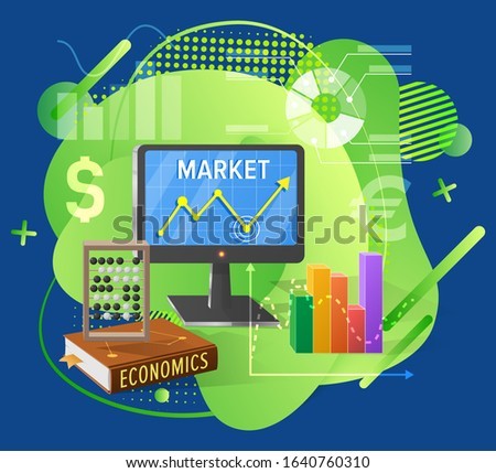 Marketing and financial report, calculate currency, economics book, rising chart and monitor, diagram and dollar, investment poster, banking raster. Stock market for traders