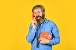Marketing automation. Cold Calling Scripts. Outdated technology. Manager phone dialog communication. Answering machine. Bearded hipster man phone conversation. Successful negotiations. Retro phone.