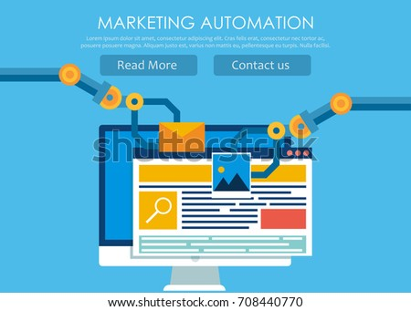 Marketing Automation. Computer with a site that builds the robot's hands.  flat illustration