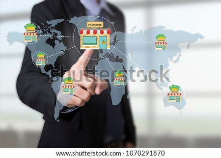 Marketing branding retail franchise License. strategy concept.