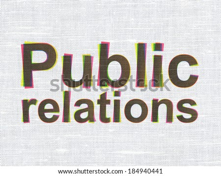 Marketing concept: CMYK Public Relations on linen fabric texture background, 3d render