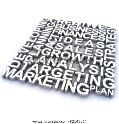 Marketing concept, 3d rendering of marketing related concept words