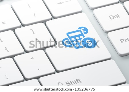 Marketing concept: Enter button with Calculator on computer keyboard background, 3d render