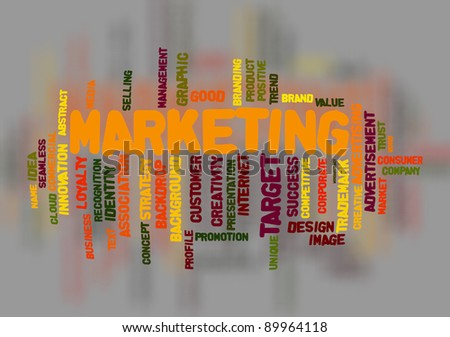 Marketing concept in word cloud style with blurred background