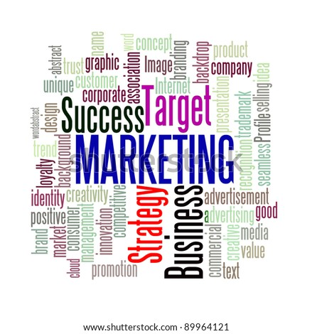 Marketing concept in word cloud style with sharpening on important word.