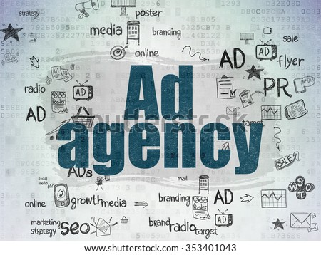Marketing concept: Painted blue text Ad Agency on Digital Paper background with Scheme Of Hand Drawn Marketing Icons