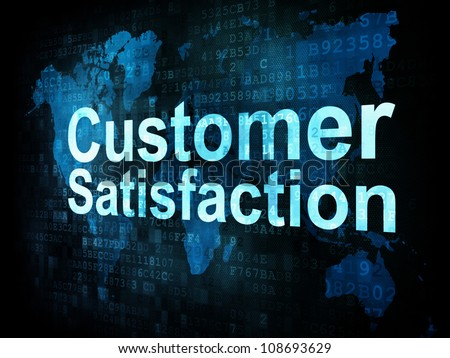 Marketing concept: pixelated words Customer Satisfaction on digital screen, 3d render
