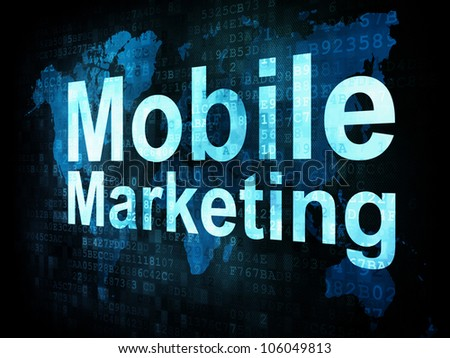 Marketing concept: pixelated words Mobile Marketing on digital screen, 3d render