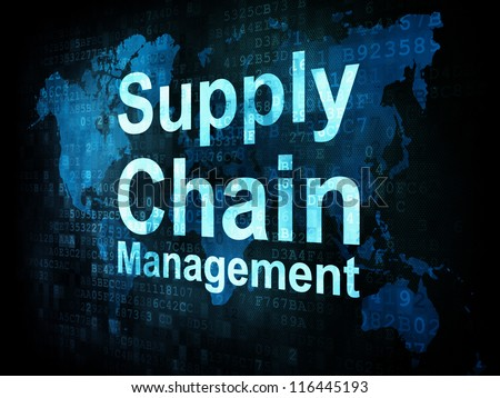 Marketing concept: pixelated words Supply Chain Management on digital screen, 3d render