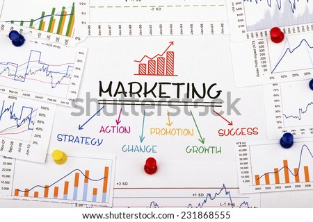 marketing concept with financial graph and chart stock photo