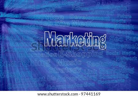 Marketing concept with internet related words